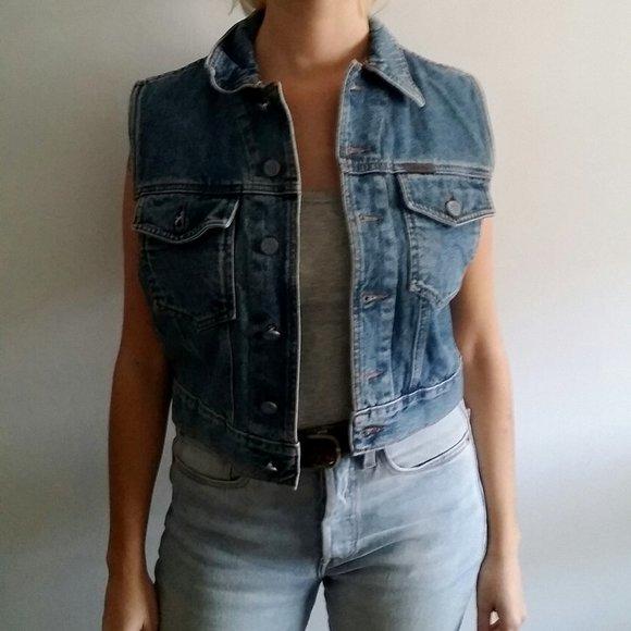 Vintage 1990's Calvin Klien Cropped Denim Vest